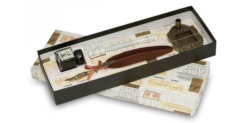 Penna Stilografica con Piuma, inchiostro e base