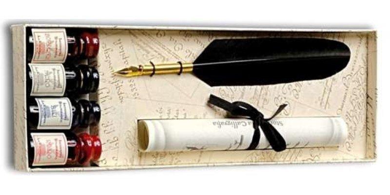 Penna Stilografica con Piuma e 4 inchiostri