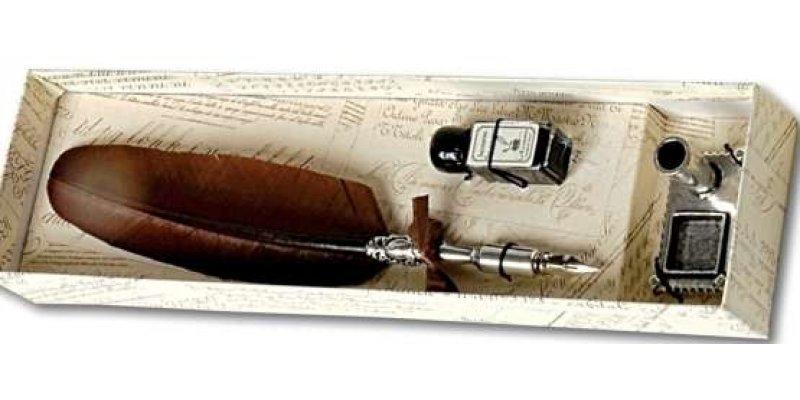 Penna Stilografica con Piuma, inchiostro e calamaio